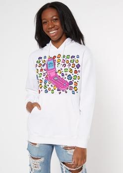 white cheetah print y2k cell graphic hoodie - Main Image