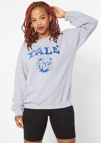 gray yale bulldogs graphic fleece pullover - Main Image