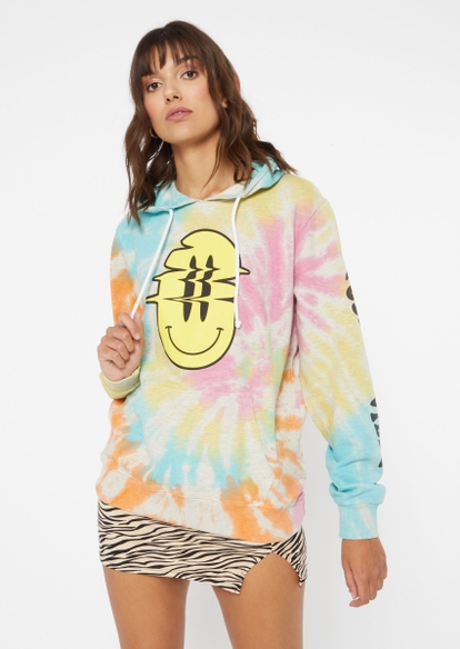 tie dye positive vibes smiley graphic hoodie - Main Image