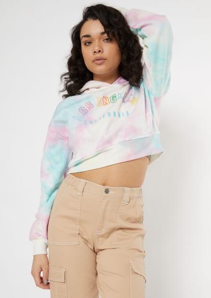 pastel tie dye la cropped hoodie - Main Image