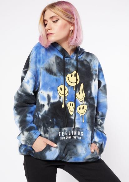 blue tie dye smiley face feelings graphic hoodie - Main Image