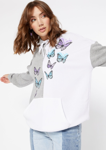 white and grey contrast split flame butterfly hoodie - Main Image