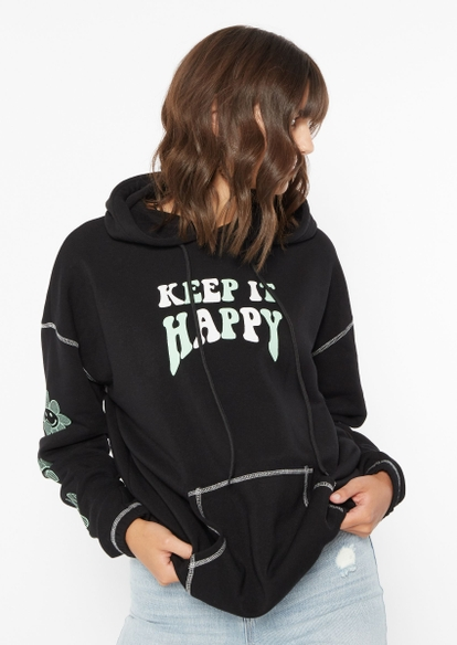 black keep it happy daisy smiley face graphic contrast stitch hoodie - Main Image