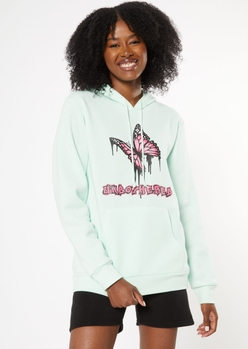 mint unbothered butterfly graphic hoodie - Main Image