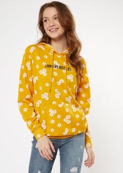 mustard daisy print best life graphic hoodie - Main Image
