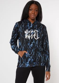 black lightning print angel graphic hoodie - Main Image