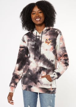 charcoal tie dye savage butterfly graphic hoodie - Main Image