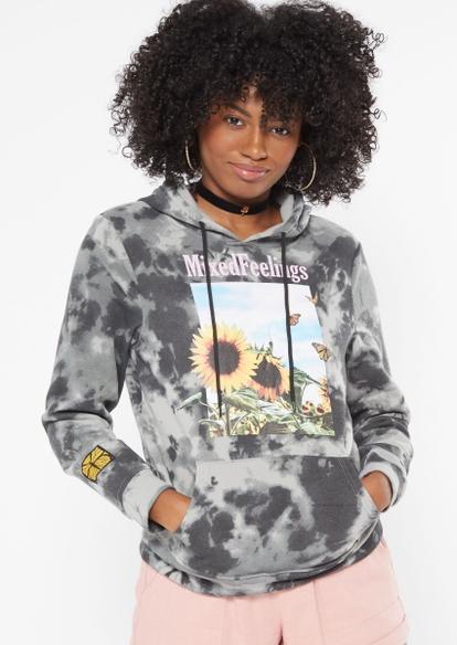 black tie dye mixed feelings sunflower graphic hoodie - Main Image