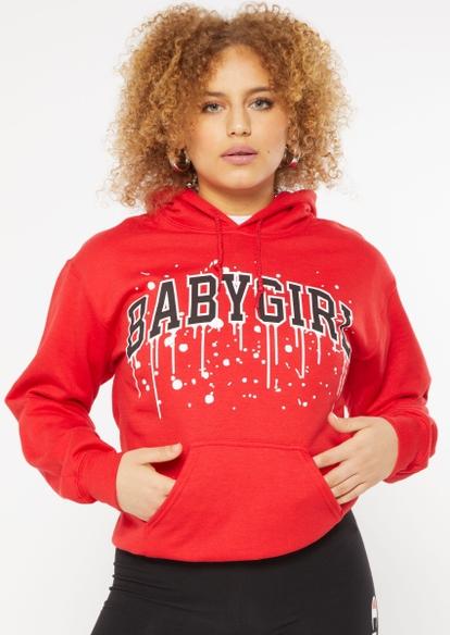 red baby girl 93 paint drip hoodie - Main Image