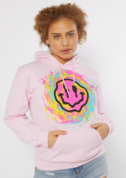 light pink smiley face paint splatter graphic hoodie - Main Image