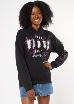 black good vibes only lightning graphic hoodie - Main Image