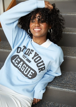 blue out of your league graphic crew neck sweatshirt - Main Image