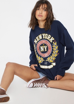 navy new york academic crest graphic oversized pullover - Main Image