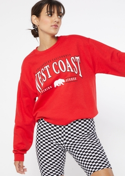 red west coast los angeles bear graphic oversized pullover - Main Image