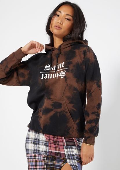 black bleach wash saint sinner hoodie - Main Image