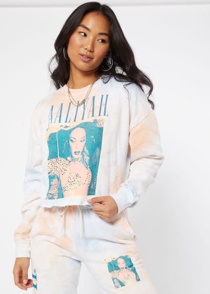 light blue tie dye aaliyah skimmer graphic sweatshirt - Main Image