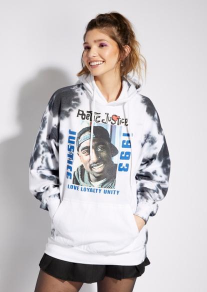 white tie dye poetic justice hoodie - Main Image