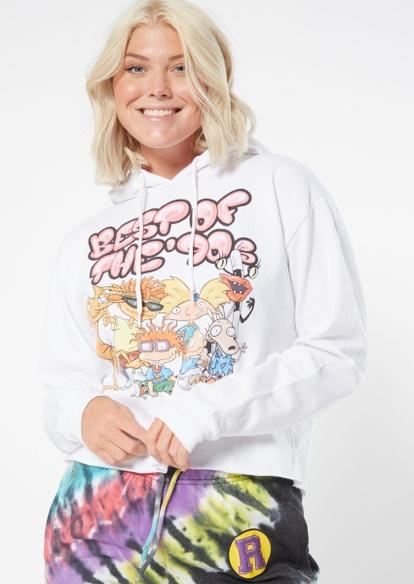 white nickelodeon best of the 90s graphic hoodie - Main Image