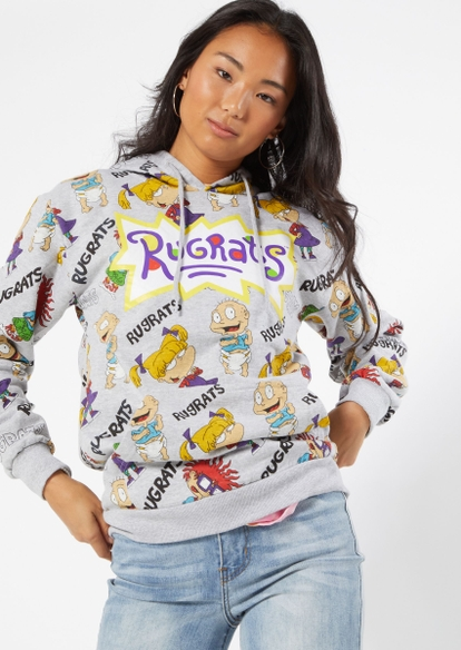 gray allover rugrats print graphic hoodie - Main Image