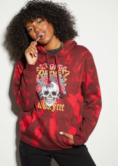 red tie dye skull rose graphic hoodie - Main Image