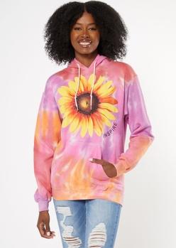 purple tie dye inspire sunflower graphic hoodie - Main Image