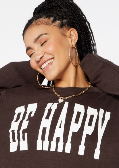 brown be happy graphic fleece pullover - Main Image