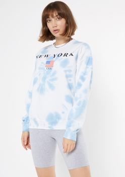 blue tie dye new york sweatshirt - Main Image