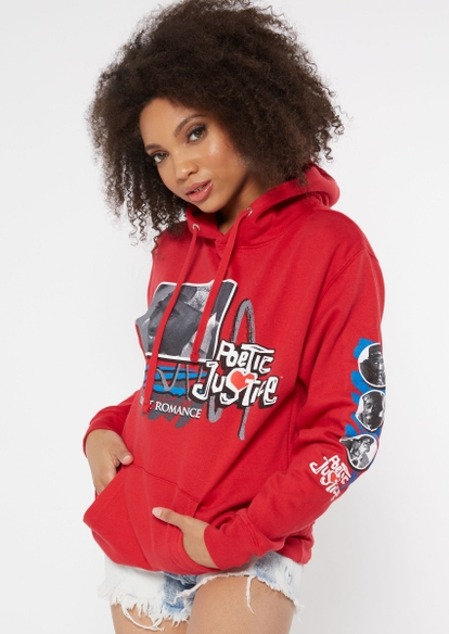 red poetic justice photo box graphic hoodie - Main Image