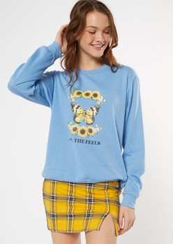 blue butterfly sunflower feels graphic sweatshirt - Main Image