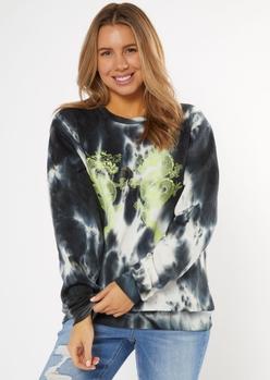 black tie dye dragon graphic sweatshirt - Main Image