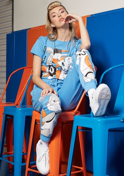 blue space jam stay tuned graphic skimmer tee - Main Image