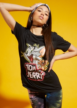 tom and jerry airbrushed black graphic tee - Main Image