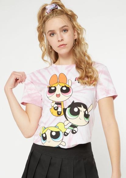pink tie dye powerpuff girls graphic tee - Main Image