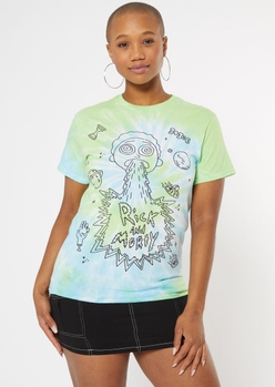 green tie dye rick and morty graphic tee - Main Image