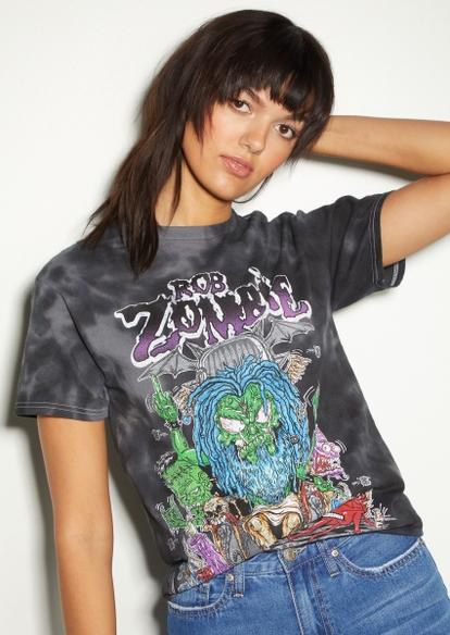 black tie dye rob zombie graphic tee - Main Image