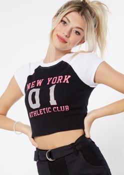 black new york athletic club glitter graphic raglan tee - Main Image