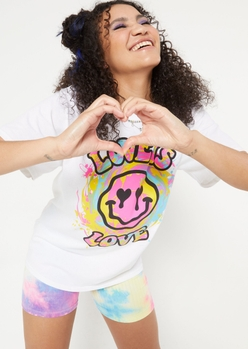 love is love drippy smiley face graphic tee - Main Image
