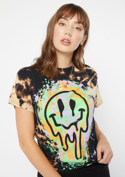 black bleach wash smiley face paint splatter graphic tee - Main Image