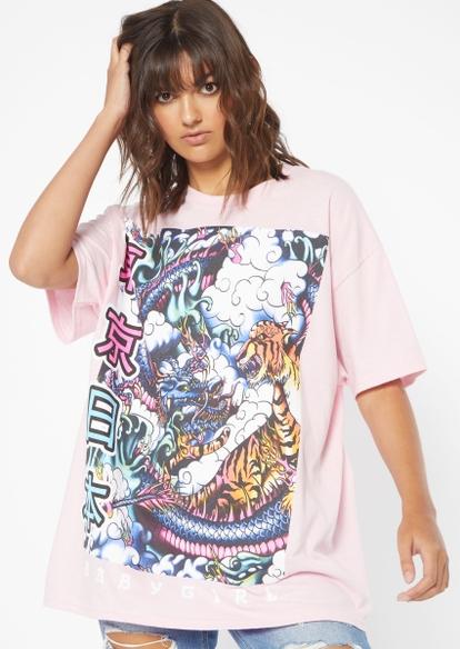 pink kanji dragon tiger oversized graphic tee - Main Image