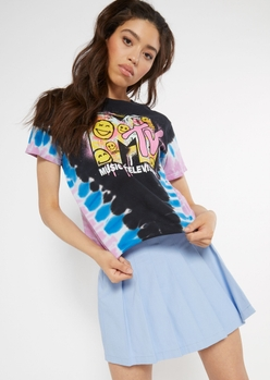 black tie dye mtv smiley face graphic tee - Main Image