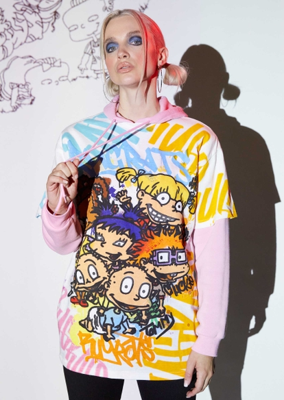 white short sleeve rugrats group graphic tee - Main Image