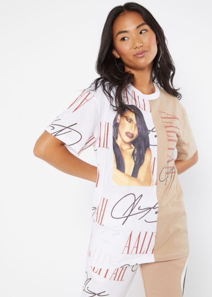 white and beige contrast split aaliyah portrait graphic tee - Main Image