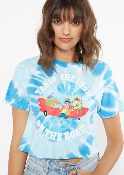 blue tie dye spongebob boat show graphic tee - Main Image