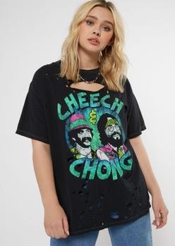 black ripped cheech and chong graphic tee - Main Image