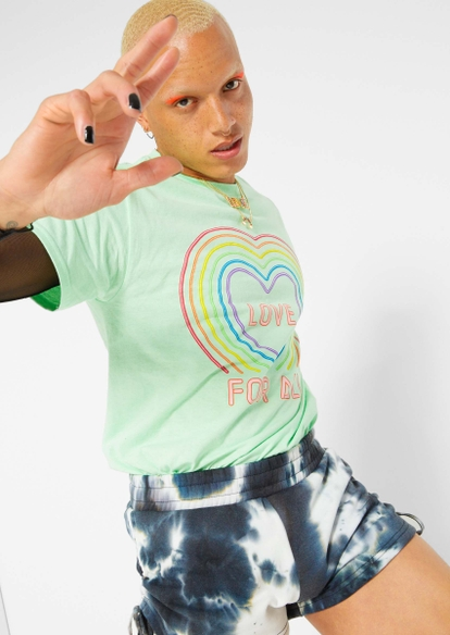 mint neon heart love for all graphic tee - Main Image