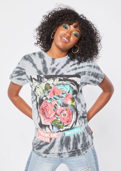 gray tie dye thank me later rose graphic tee - Main Image