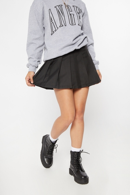 black drop waist pleated mini skirt - Main Image