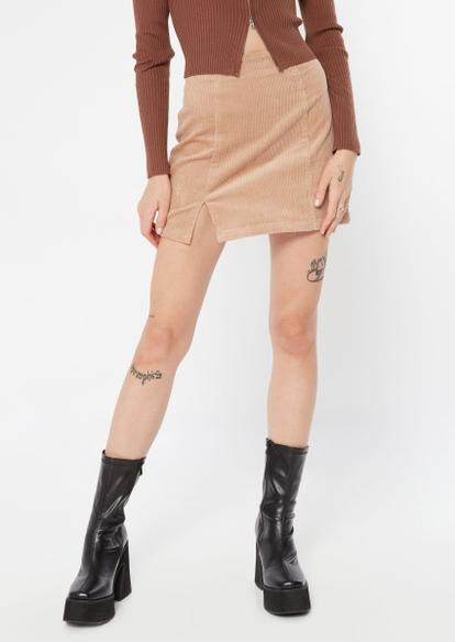 khaki corduroy thigh slit mini skirt - Main Image