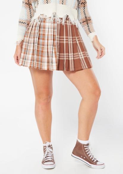 brown plaid colorblock pleated skirt - Main Image