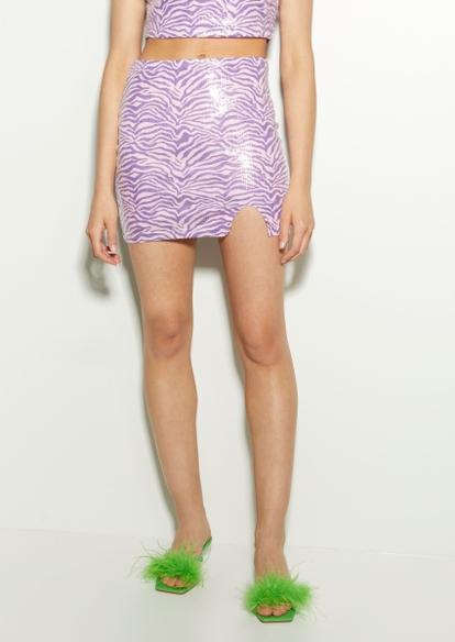 purple zebra print sequin mini skirt - Main Image